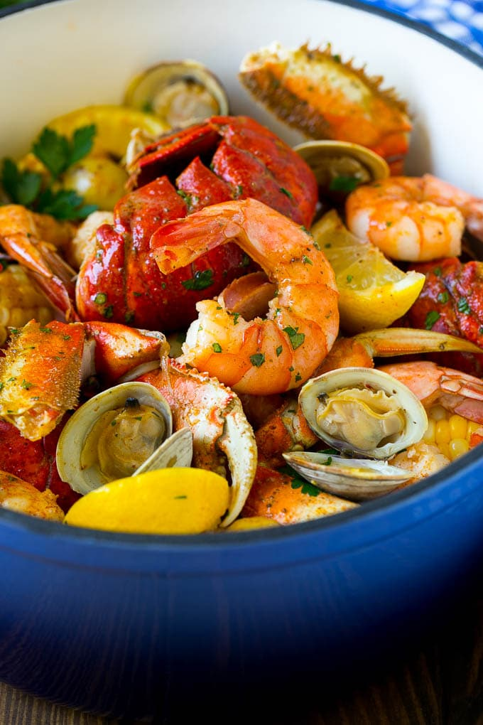 Seafood boil made with shrimp, clams and lobster.