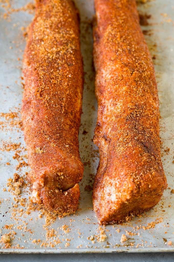 Pork tenderloins coated in homemade spice rub.