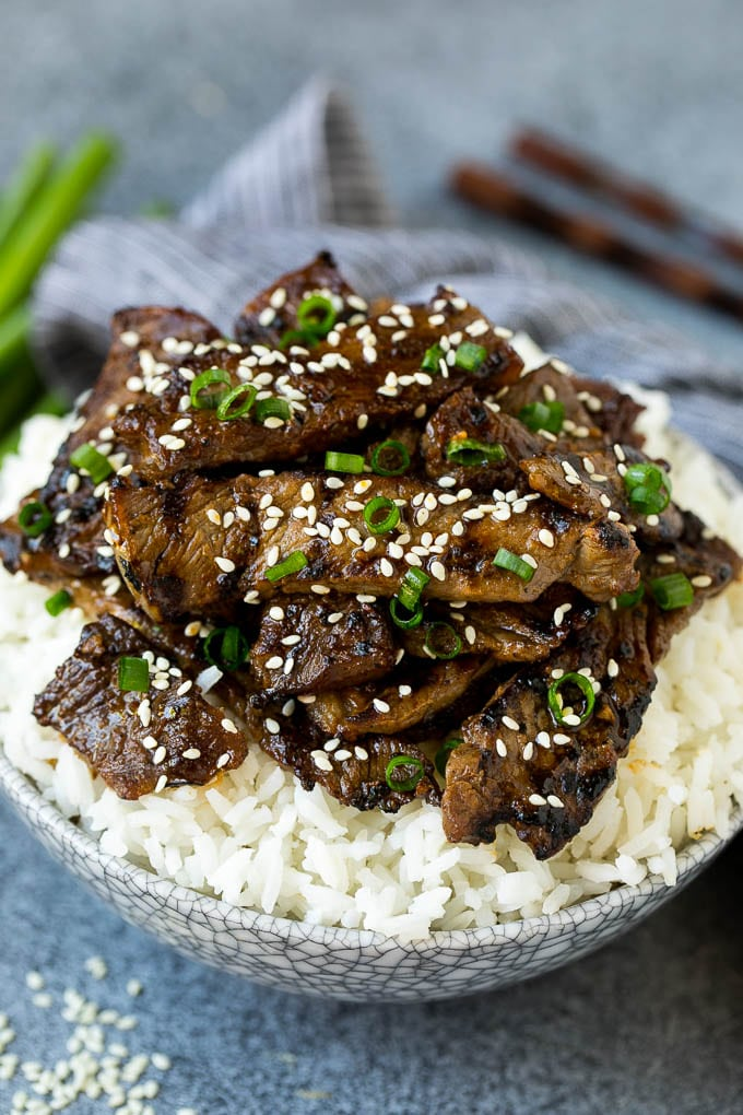 Beef bulgogi strips served over steamed rice.