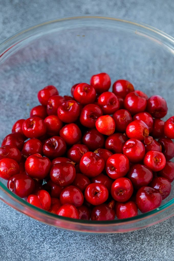 A bowl of pitted cherries.