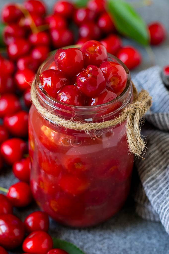 Cherry pie filling in a mason jar.
