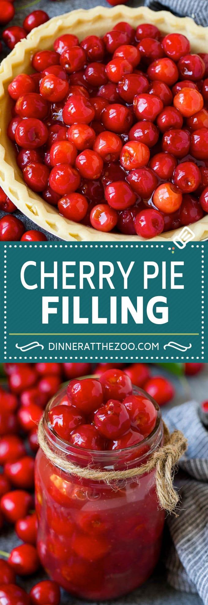 Cherry Pie Filling Recipe #pie #cherries #dessert #sweets #dinneratthezoo #summer