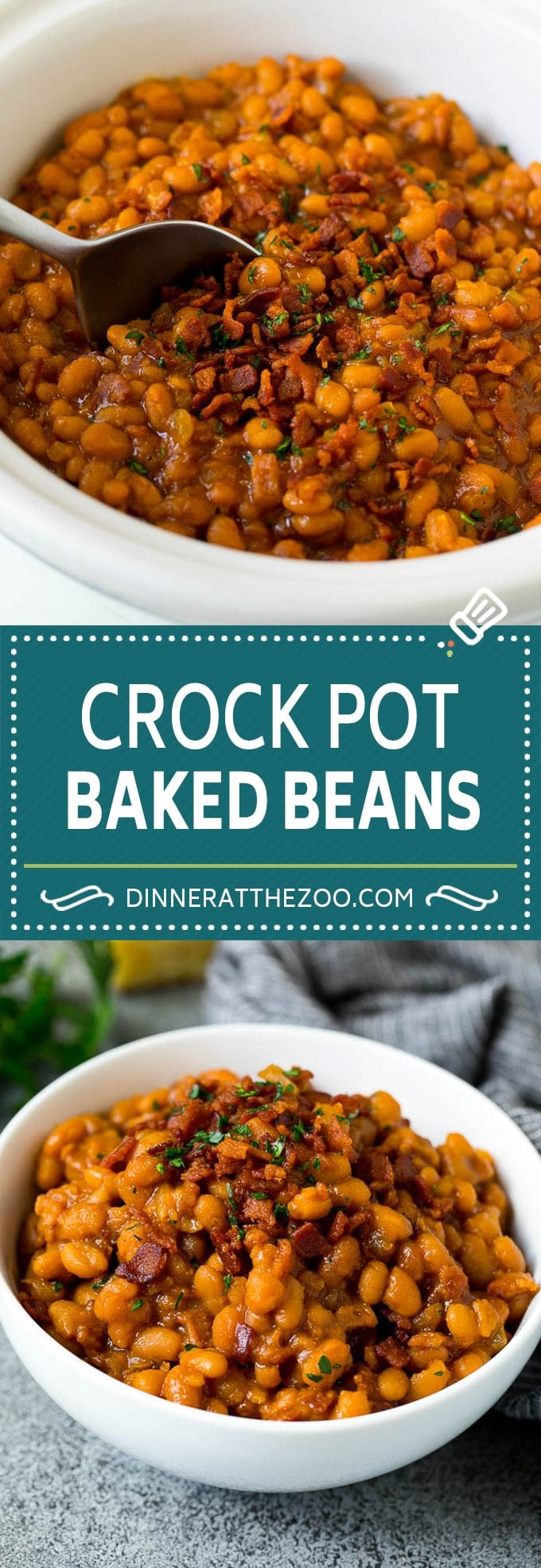Crock Pot Baked Beans | Slow Cooker Baked Beans #beans #bacon #slowcooker #crockpot #dinneratthezoo
