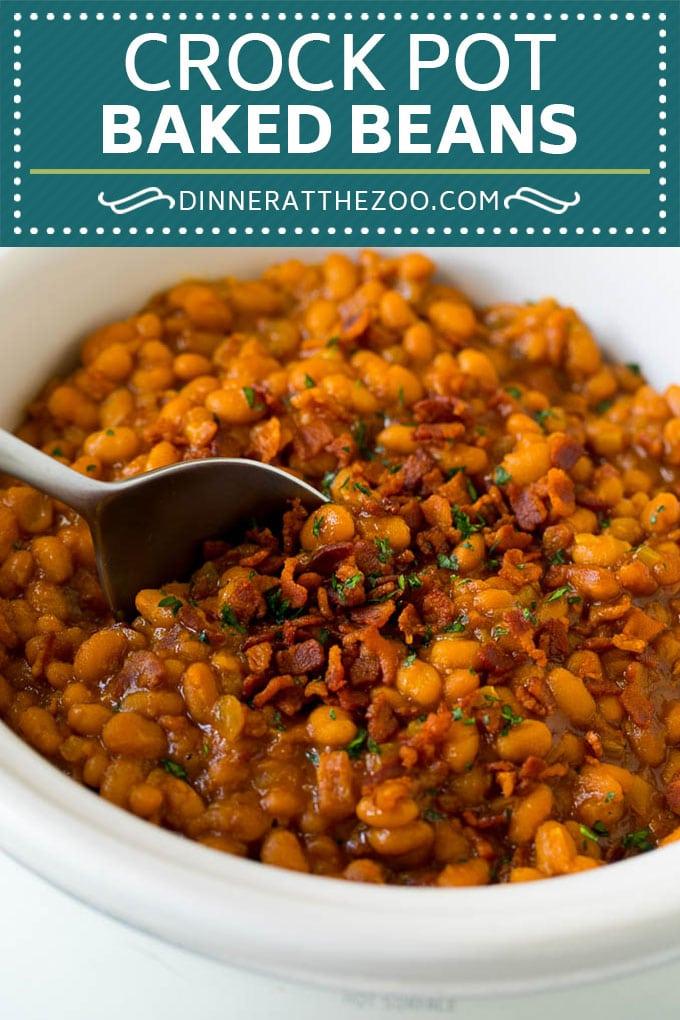 Crock Pot Baked Beans   Slow Cooker Baked Beans #beans #bacon #slowcooker #crockpot #dinneratthezoo