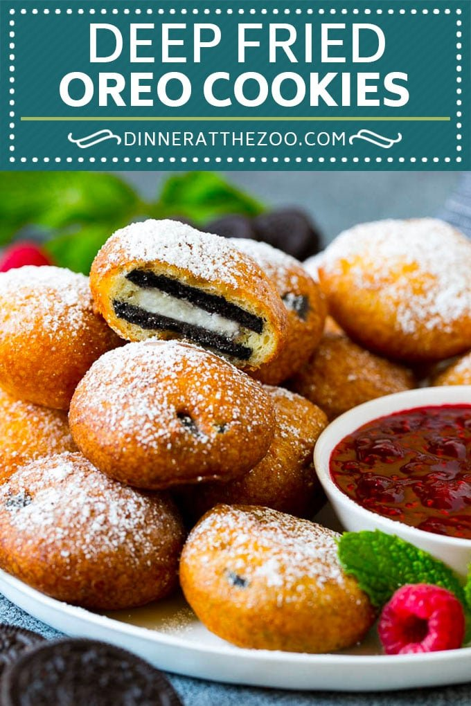 Fried Oreos Recipe #oreos #cookies #dessert #chocolate #dinneratthezoo