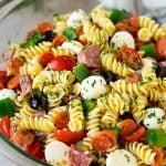 Italian pasta salad with rotini noodles, salami and pepperoni.