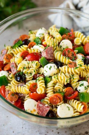 Italian pasta salad with rotini noodles, salami and pepperoni.