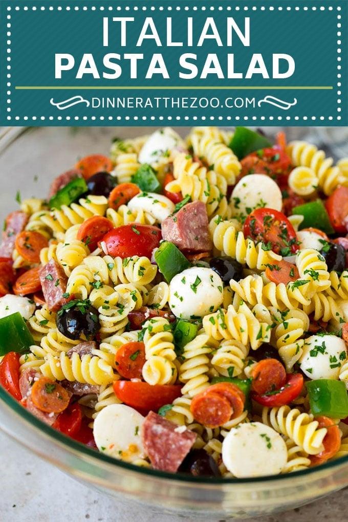 Italian Pasta Salad | Pasta Salad Recipe #pasta #salad #pastasalad #pepperoni #salami #olives #cheese #sidedish #dinneratthezoo