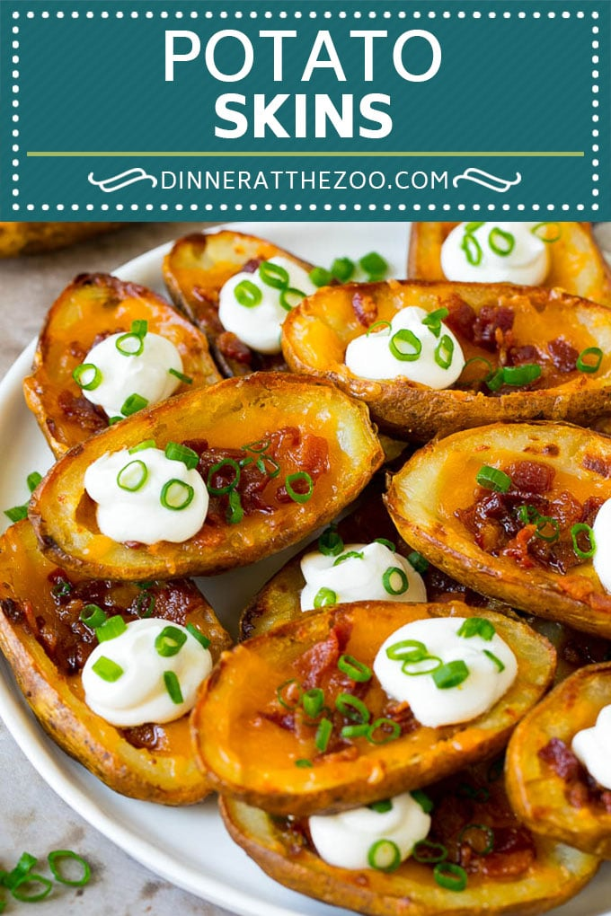 Potato Skins Recipe | Loaded Potatoes #potatoes #appetizer #snack #cheese #bacon #dinneratthezoo