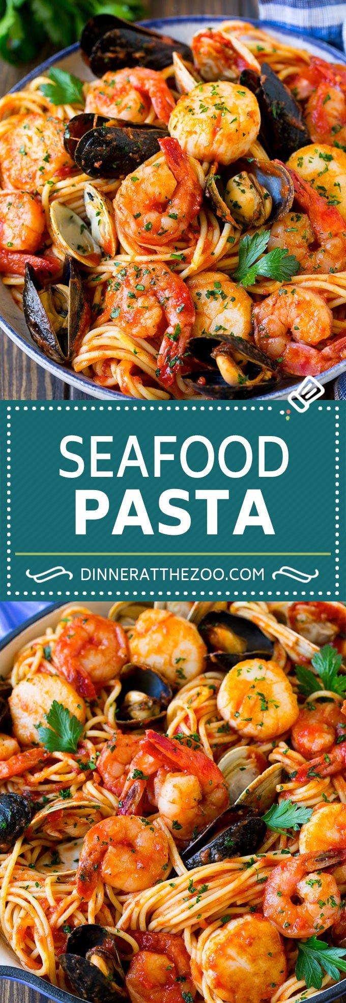 Seafood Pasta Recipe | Shrimp Pasta #pasta #spaghetti #shrimp #clams #scallops #dinner #dinneratthezoo