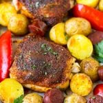 Spanish chicken thighs with chorizo and potatoes.