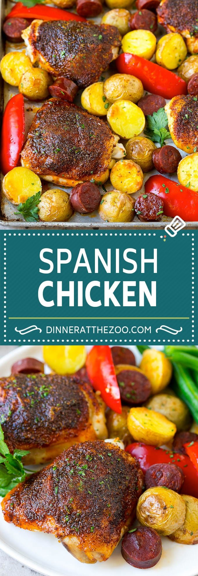 Spanish Chicken Recipe | Sheet Pan Meal | Chicken and Potatoes #spanishfood #chicken #sausage #potatoes #dinner #dinneratthezoo