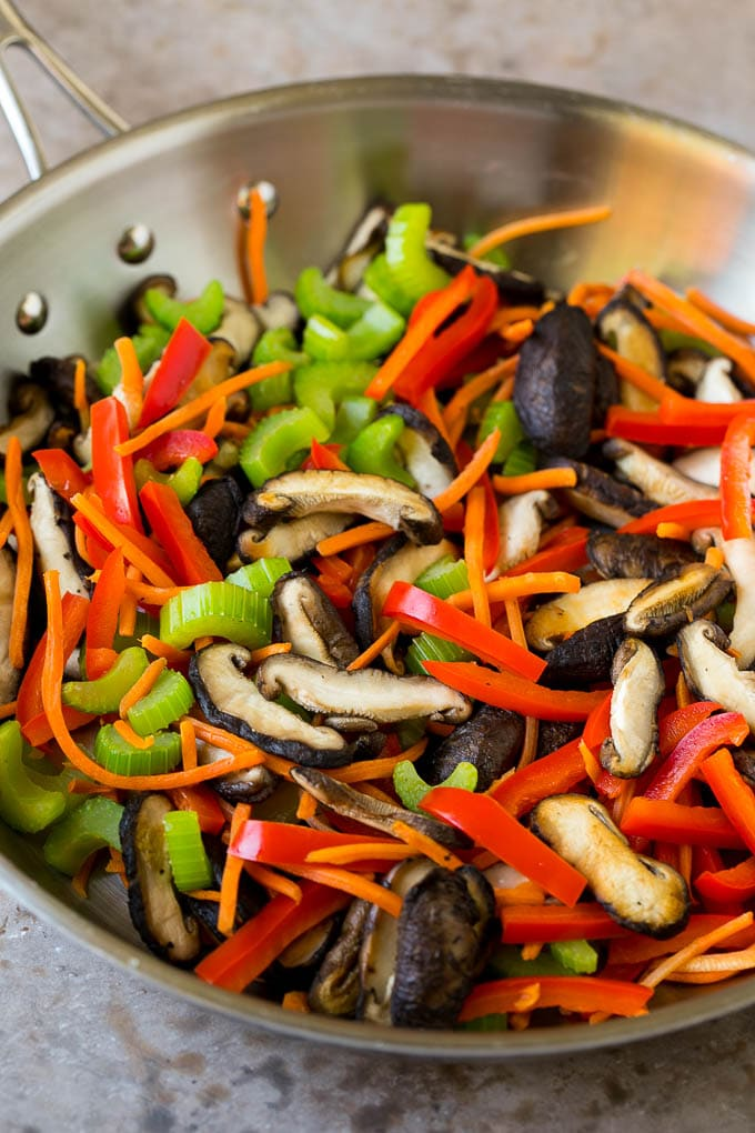 Mushrooms, bell pepper, celery and carrot in a pan.