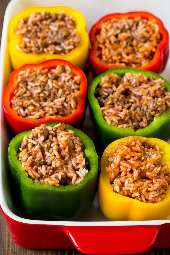 Bell peppers filled with a meat and rice mixture.