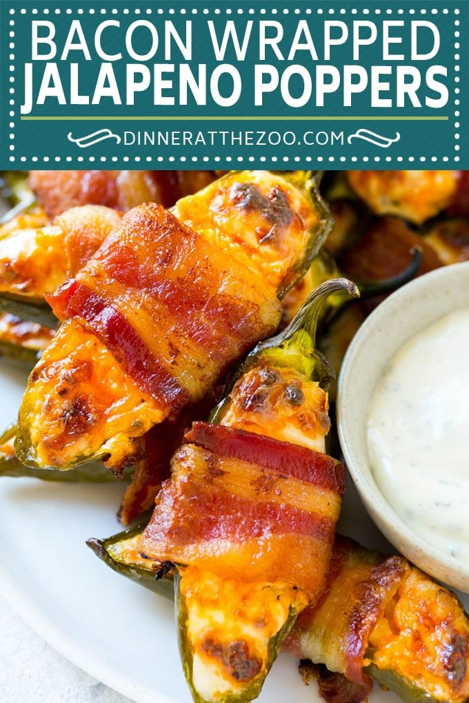 Bacon Wrapped Jalapeno Poppers Recipe | Baked Jalapeno Poppers | Bacon Appetizer #bacon #jalapenos #poppers #appetizer #snack #lowcarb #keto #dinneratthezoo