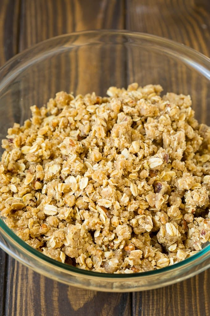 Brown sugar and oatmeal crumble in a bowl.
