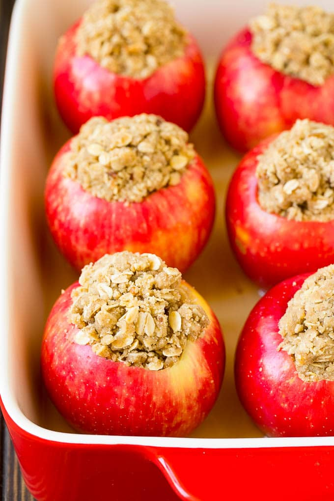 Oatmeal and brown sugar stuffed into hollowed out apples.