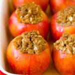 Baked apples filled with oatmeal, brown sugar and walnuts.