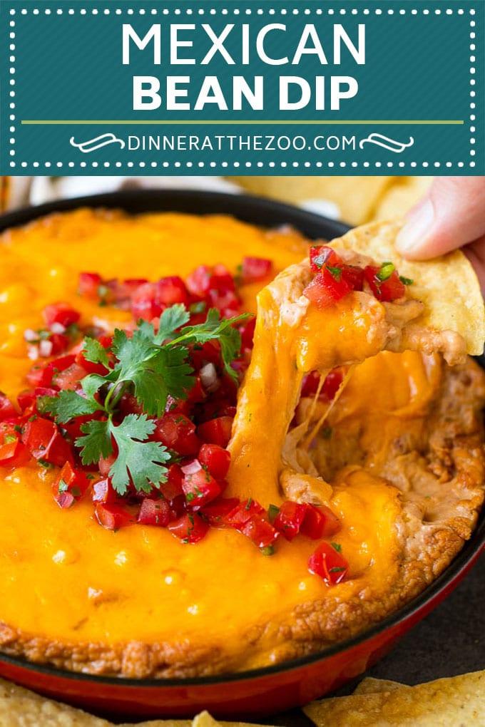 Bean Dip Recipe   Mexican Dip #dip #appetizer #mexicanfood #beans #cheese #dinneratthezoo