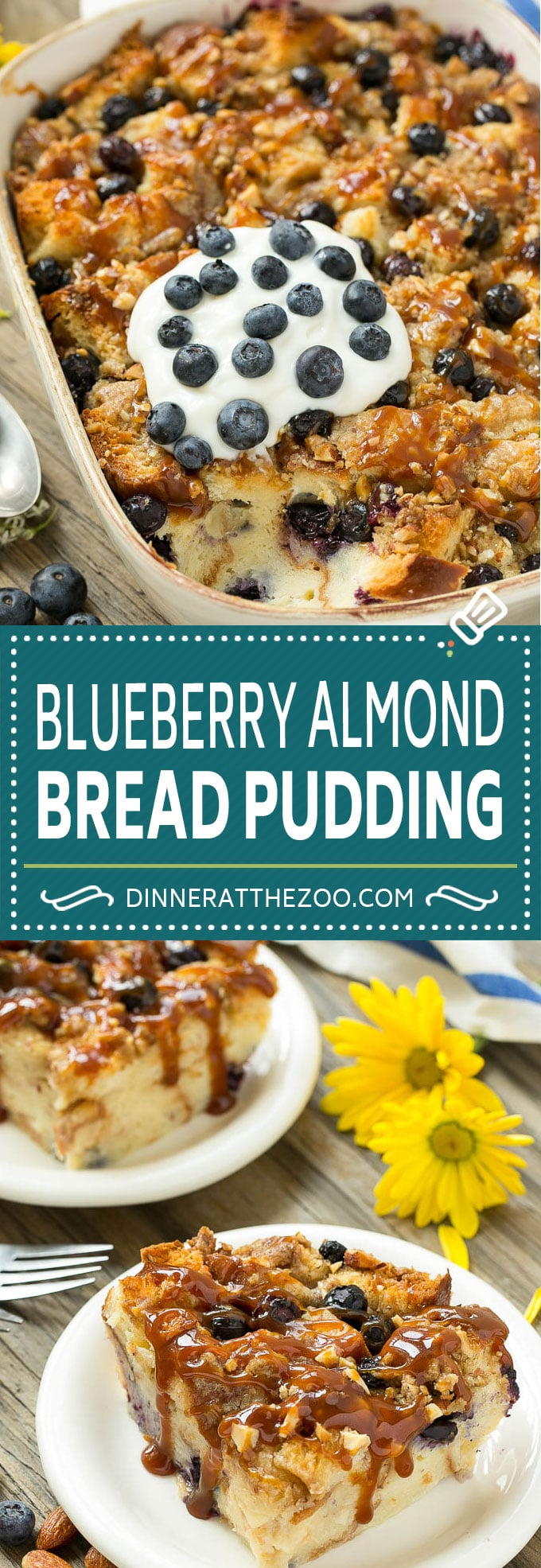 Blueberry Bread Pudding Recipe #dessert #blueberry #breadpudding #dinneratthezoo