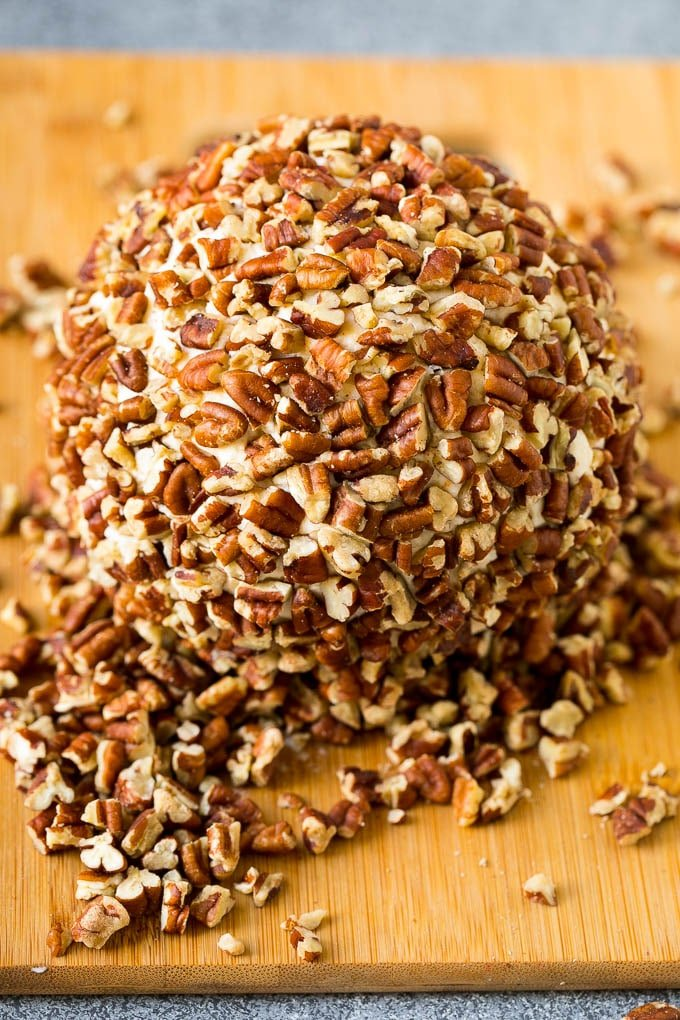 Cheese rolled in chopped pecans.