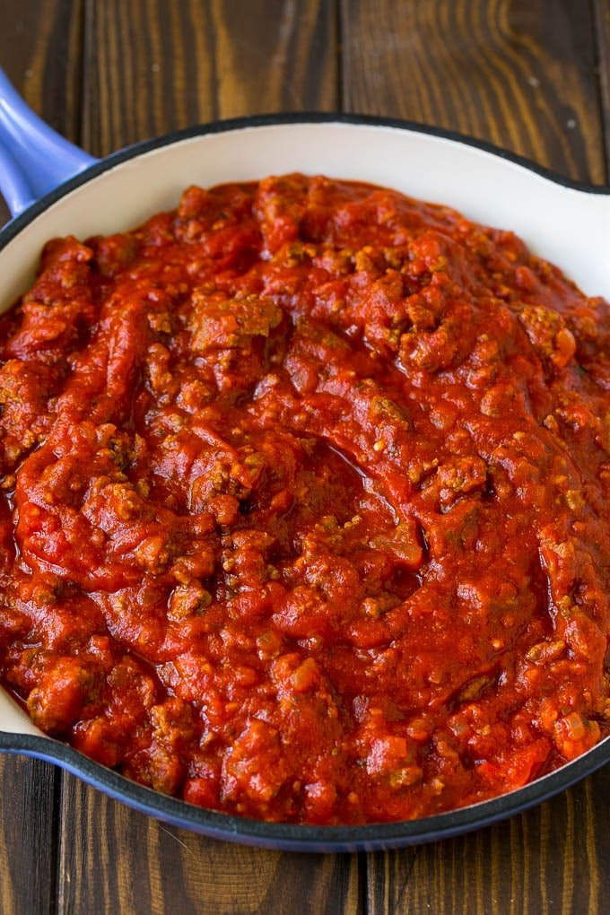 Homemade meat sauce in a pan.