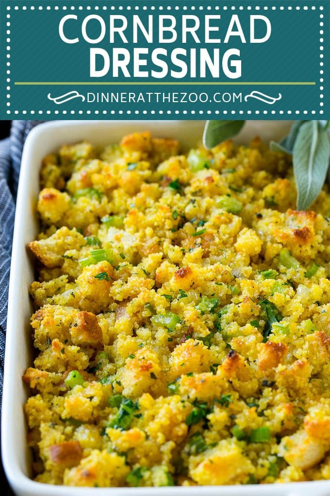 This old fashioned Southern cornbread dressing recipe is a classic that's a must-have for every Thanksgiving table. It's made with celery, onions, homemade cornbread, white bread and plenty of herbs.