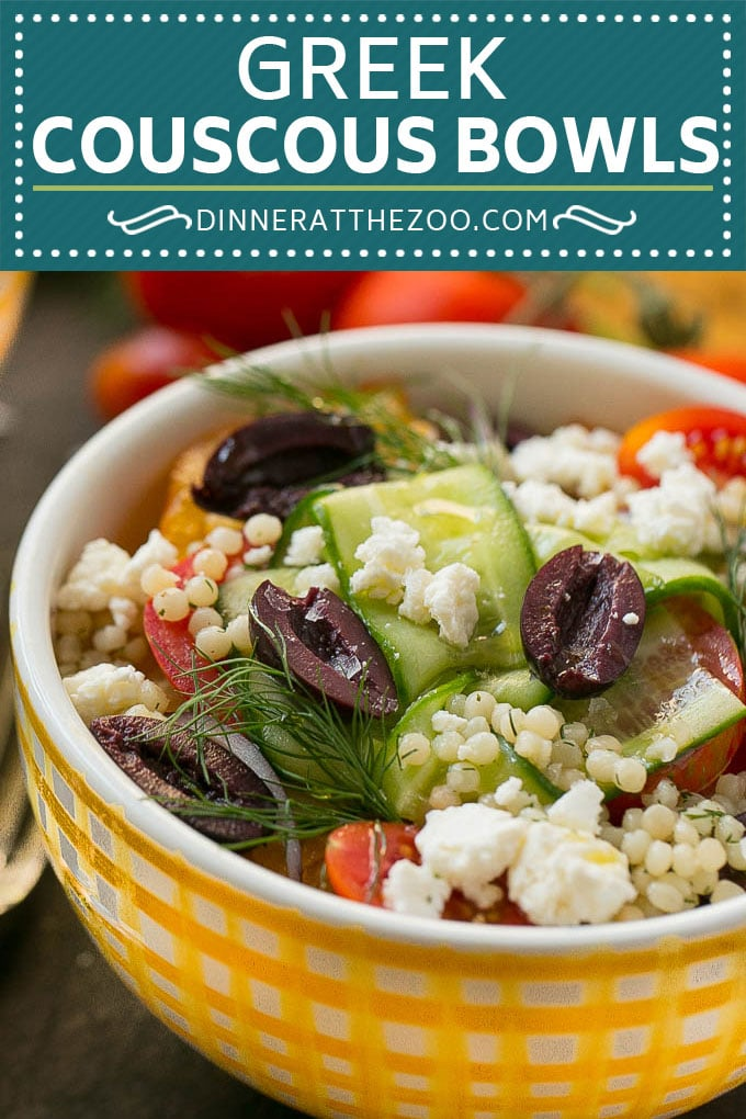 Greek Couscous Bowls #couscous #lunch #dinneratthezoo