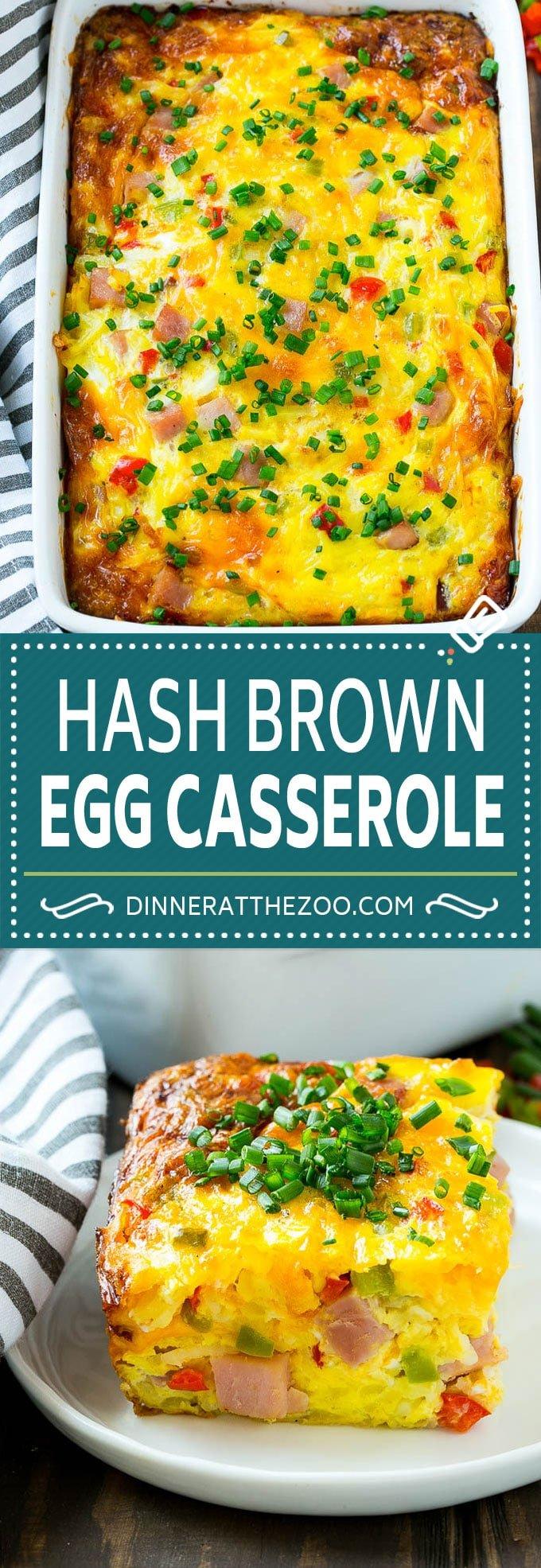Hash Brown Egg Casserole Recipe | Breakfast Casserole with Ham | Hash Brown Casserole | Ham and Egg Casserole | Egg Casserole with Ham #breakfast #casserole #eggs #ham #dinneratthezoo #brunch