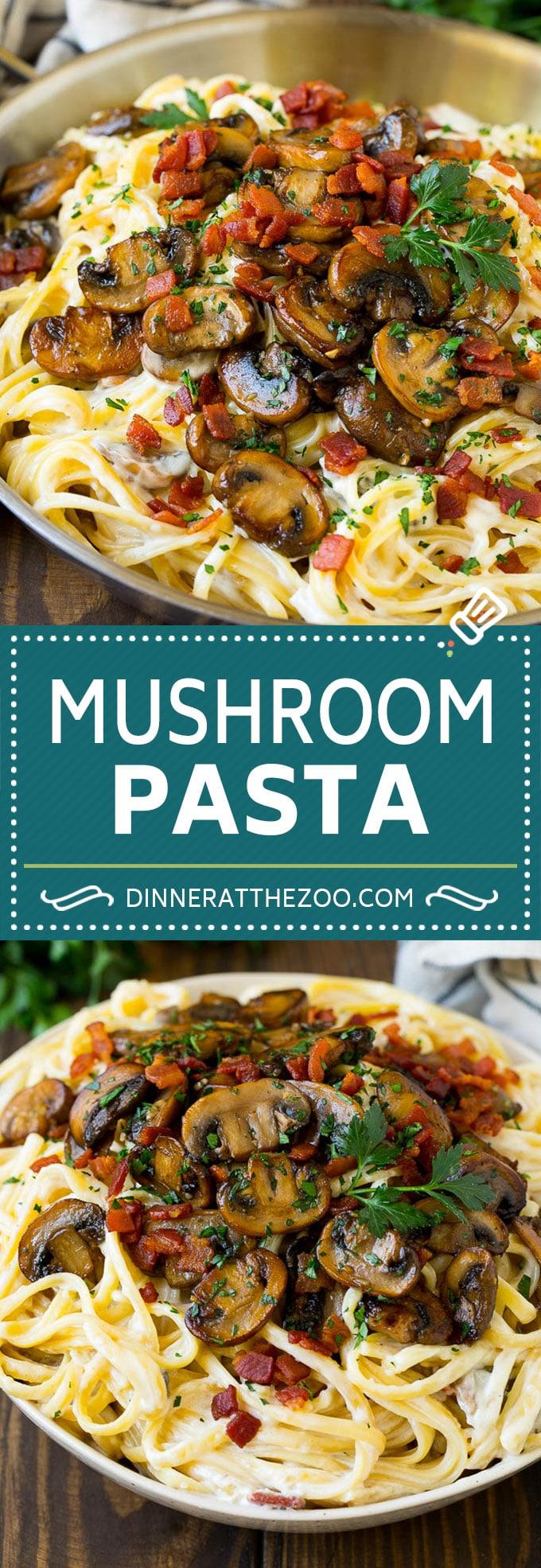 Mushroom Pasta Recipe   Creamy Pasta #pasta #mushrooms #bacon #dinner #dinneratthezoo