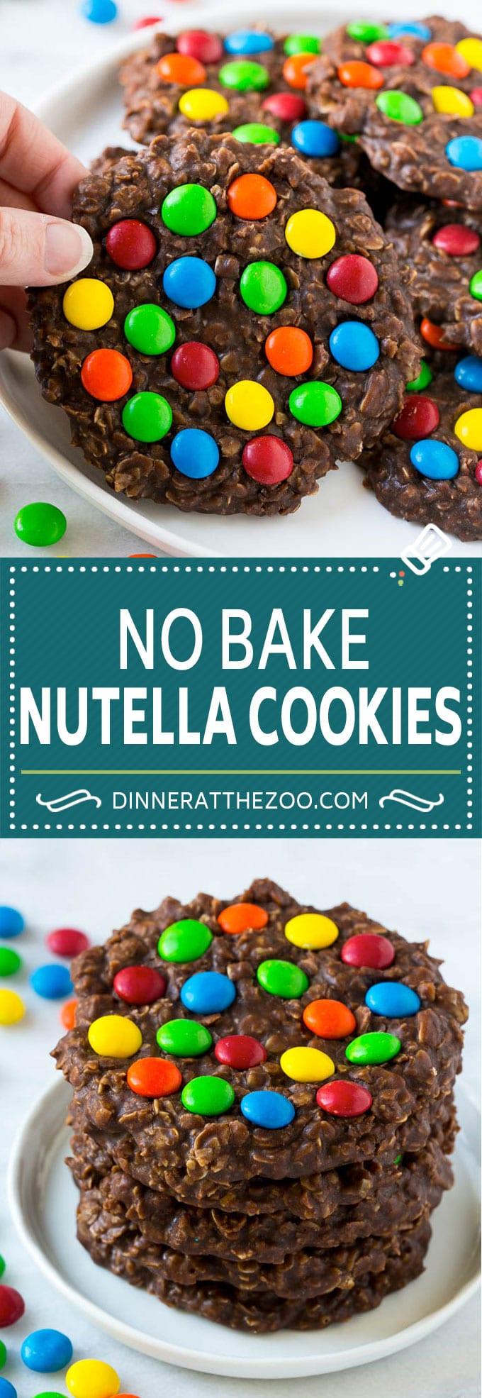 No Bake Nutella Cookies | No Bake Cookie Recipe | M&M's Cookies | Chocolate Oatmeal Cookies #cookies #nutella #chocolate #dessert #dinneratthezoo