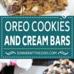 Oreo Cookies and Cream Bars Recipe | Bar Cookies #cookies #oreo #chocolate #dessert #dinneratthezoo