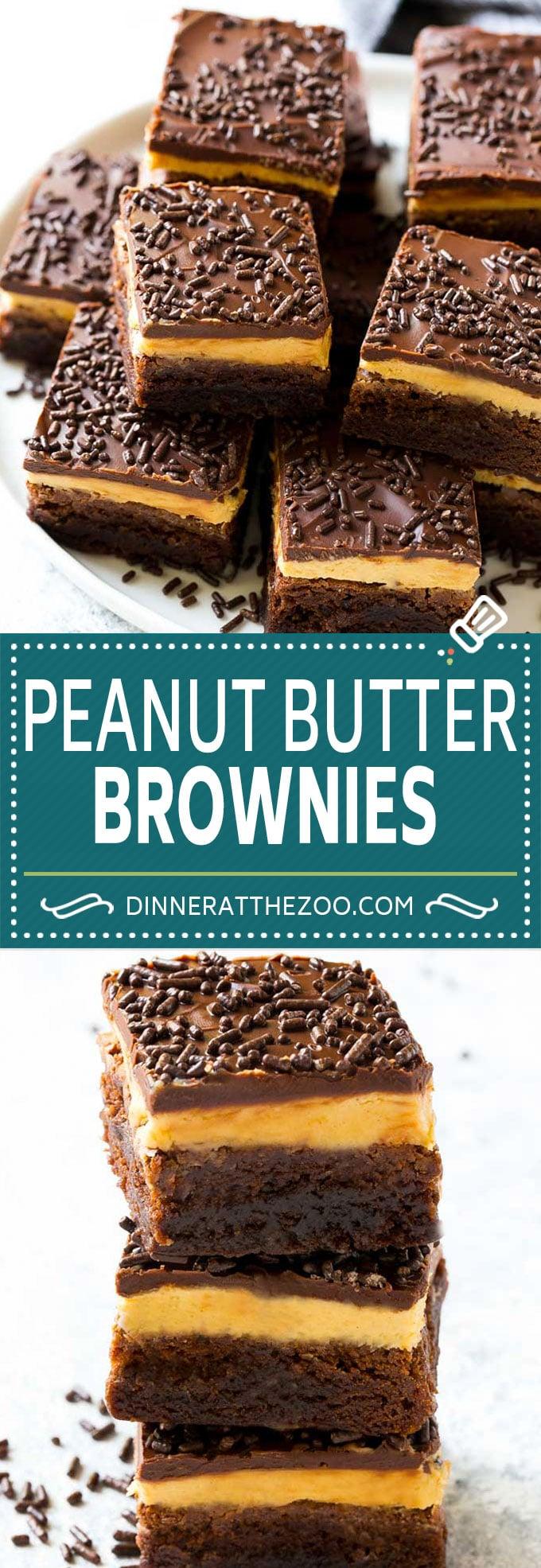 Peanut Butter Brownies Recipe | Layered Brownies | Peanut Butter Truffle Brownies #chocolate #peanutbutter #brownies #dessert #dinneratthezoo