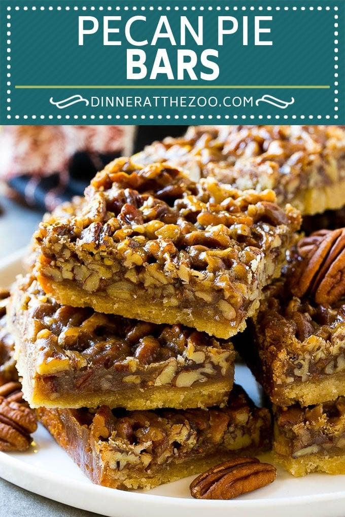 Pecan Pie Bars Recipe | Pecan Squares #pecans #pie #pecanpie #thanksgiving #dessert #dinneratthezoo