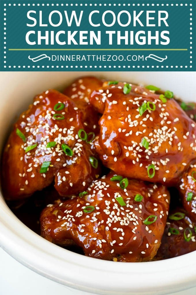 Slow Cooker Chicken Thighs | Crock Pot Chicken Thighs | Honey Garlic Chicken #chicken #slowcooker #crockpot #dinner #dinneratthezoo