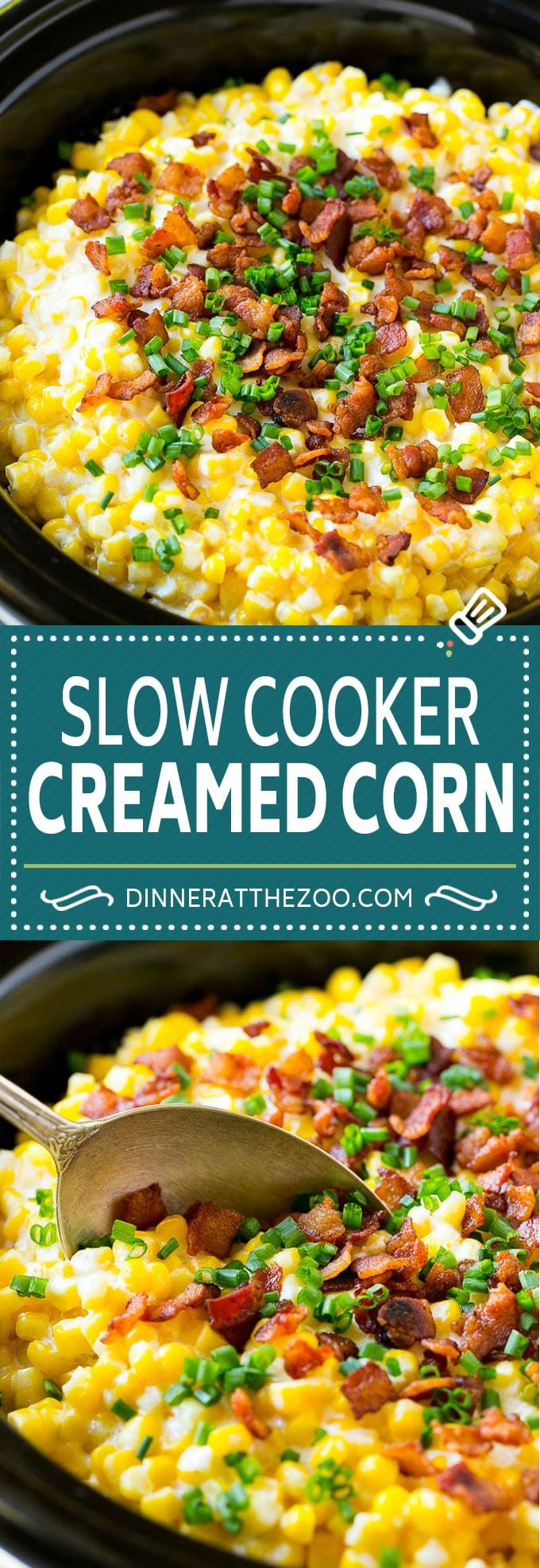 Slow Cooker Creamed Corn Recipe | Easy Creamed Corn Recipe | Slow Cooker Creamed Corn with Bacon | Southern Creamed Corn #corn #bacon #sidedish #slowcooker #crockpot #dinneratthezoo