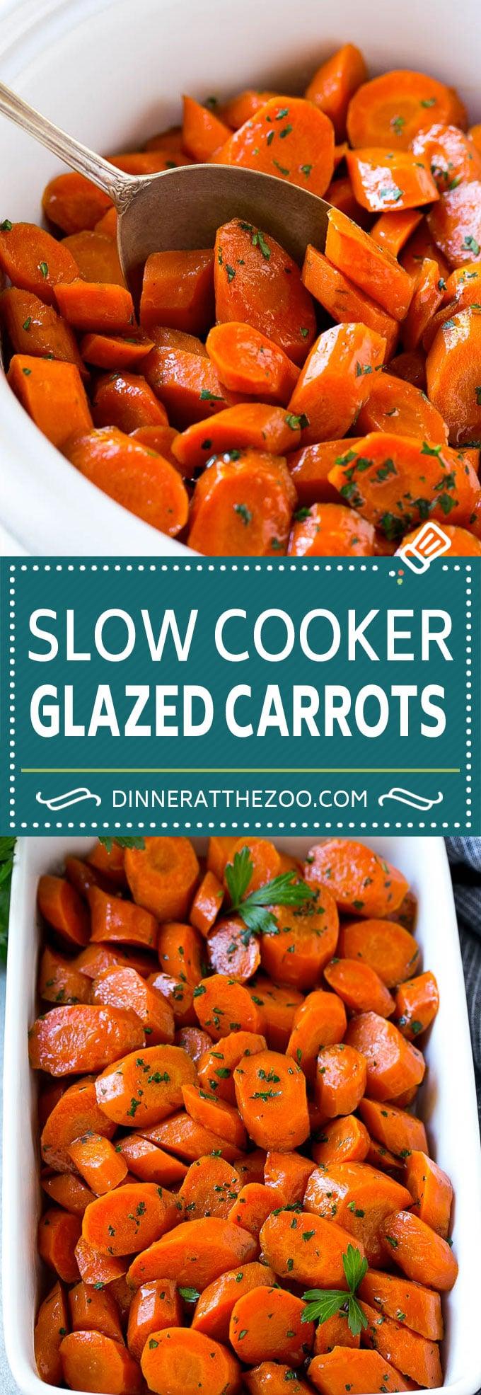 Slow Cooker Glazed Carrots Recipe   Brown Sugar Glazed Carrots   Slow Cooker Carrots #carrots #sidedish #slowcooker #crockpot #dinneratthezoo
