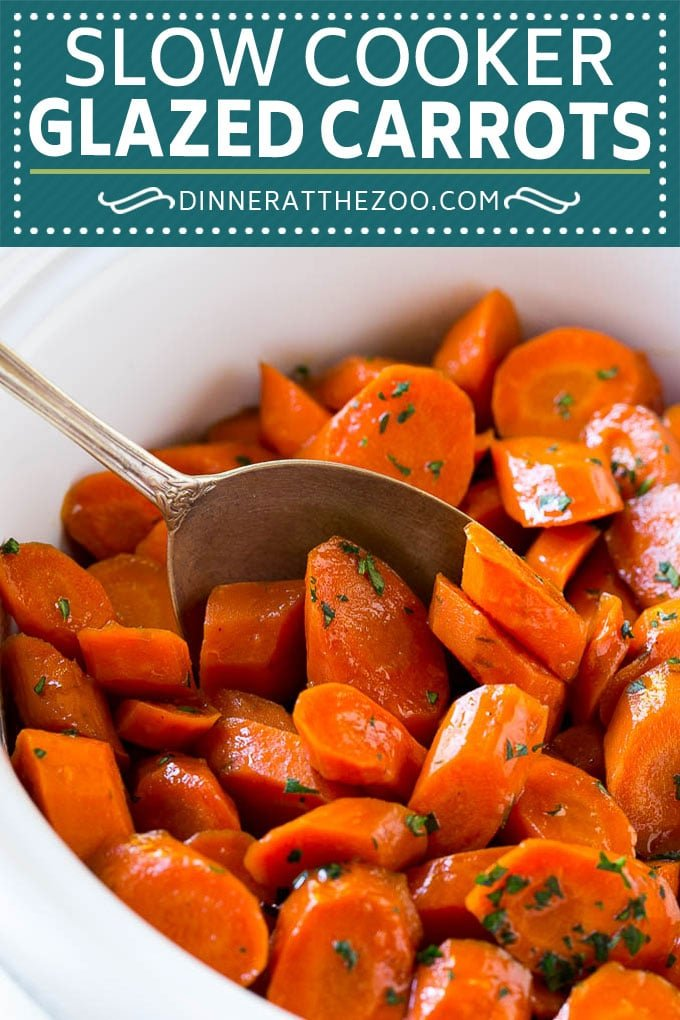 Slow Cooker Glazed Carrots Recipe | Brown Sugar Glazed Carrots | Slow Cooker Carrots #carrots #sidedish #slowcooker #crockpot #dinneratthezoo