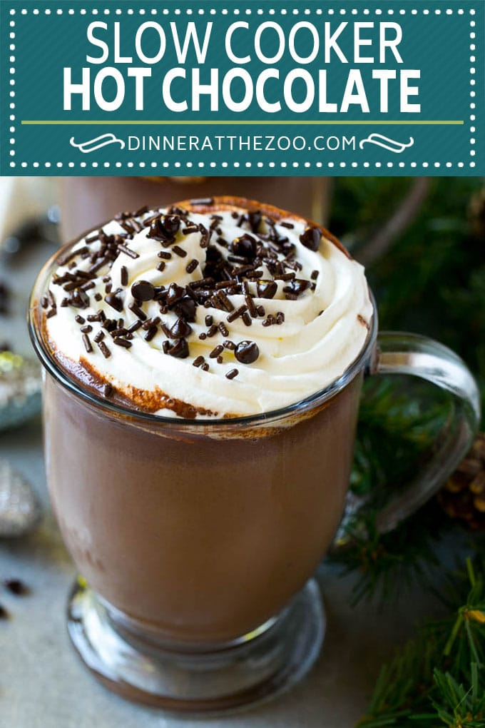 Slow Cooker Hot Chocolate Recipe | Homemade Hot Chocolate | Slow Cooker Hot Cocoa | Crock Pot Hot Chocolate #drink #chocolate #cocoa #slowcooker #crockpot #dinneratthezoo