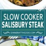 Slow Cooker Salisbury Steak Recipe | Homemade Salisbury Steak | Crock Pot Salisbury Steak #beef #mushrooms #dinner #dinneratthezoo #slowcooker #crockpot #comfortfood
