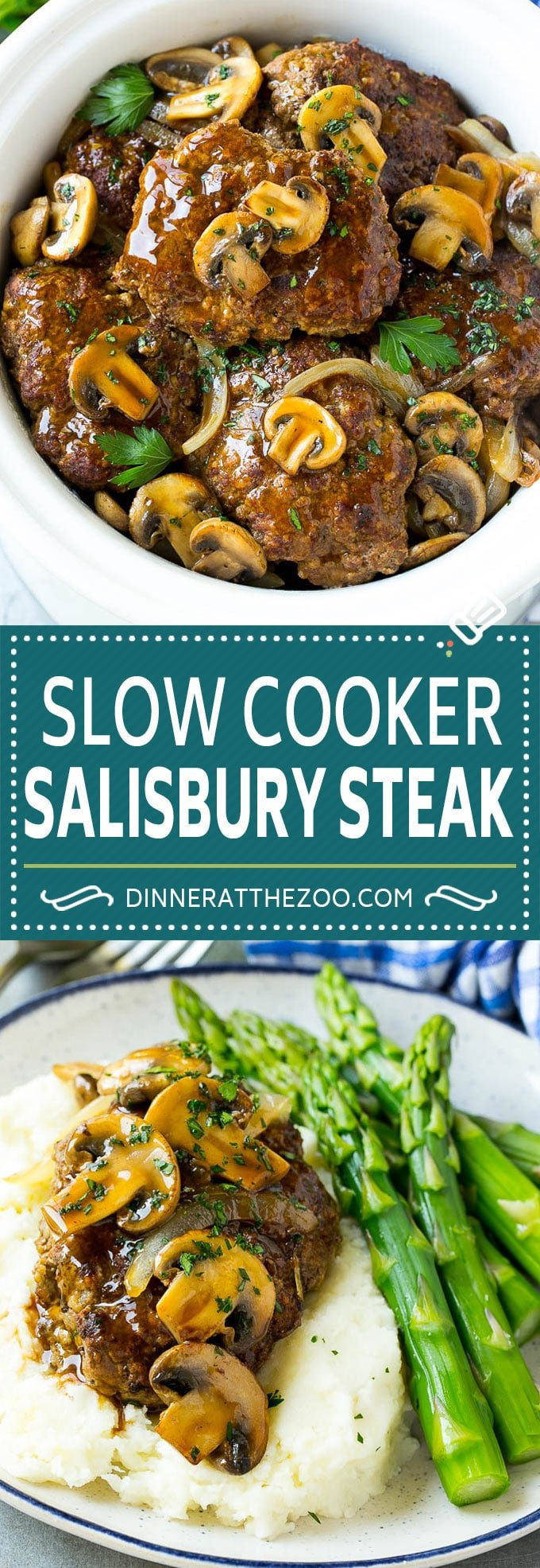 Slow Cooker Salisbury Steak Recipe | Homemade Salisbury Steak | Crock Pot Salisbury Steak #beef #mushrooms #dinner #dinneratthezoo #slowcooker #crockpot #comfortfood
