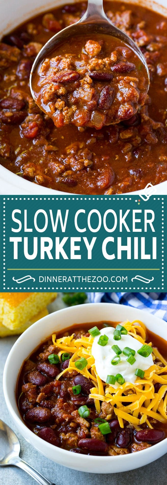 Slow Cooker Turkey Chili Recipe | Crockpot Chili | Turkey Chili | Chili With Beans Recipe | Healthy Chili Recipe #turkey #chili #beans #soup #slowcooker #crockpot #dinneratthezoo