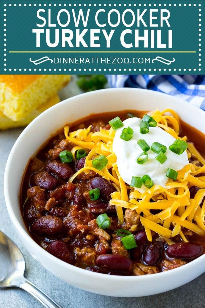 Slow Cooker Turkey Chili Recipe   Crockpot Chili   Turkey Chili   Chili With Beans Recipe   Healthy Chili Recipe #turkey #chili #beans #soup #slowcooker #crockpot #dinneratthezoo