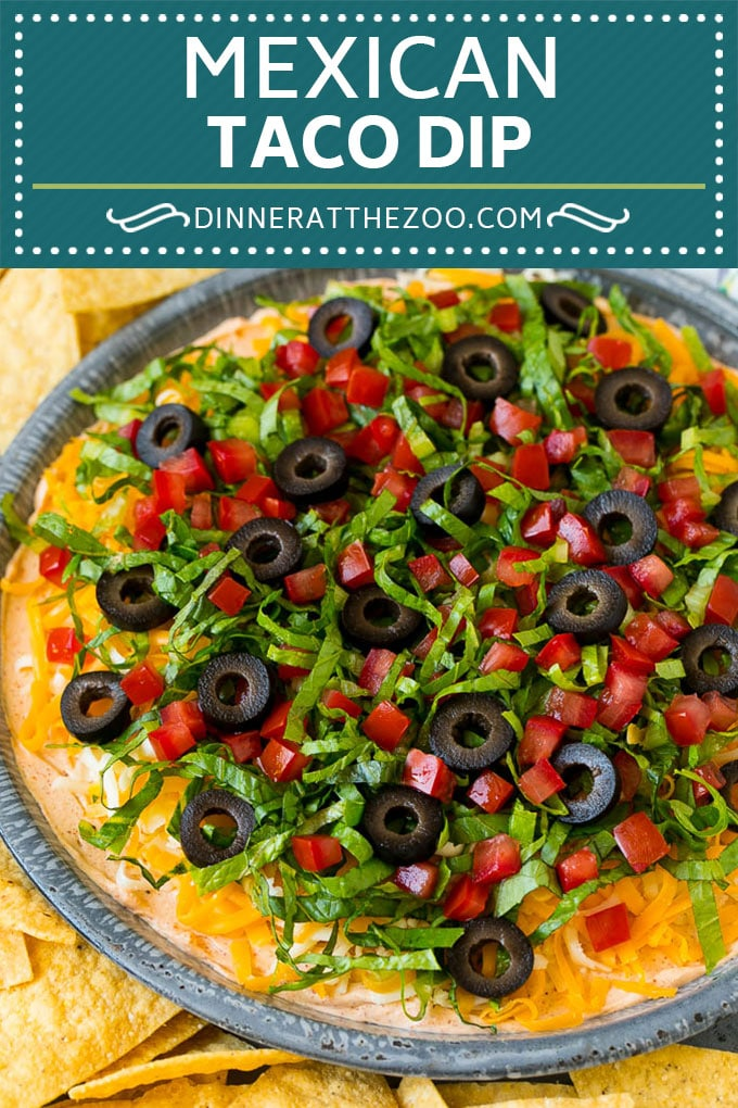 Taco Dip Recipe | Mexican Dip #tacos #dip #appetizer #mexicanfood #cheese #dinneratthezoo