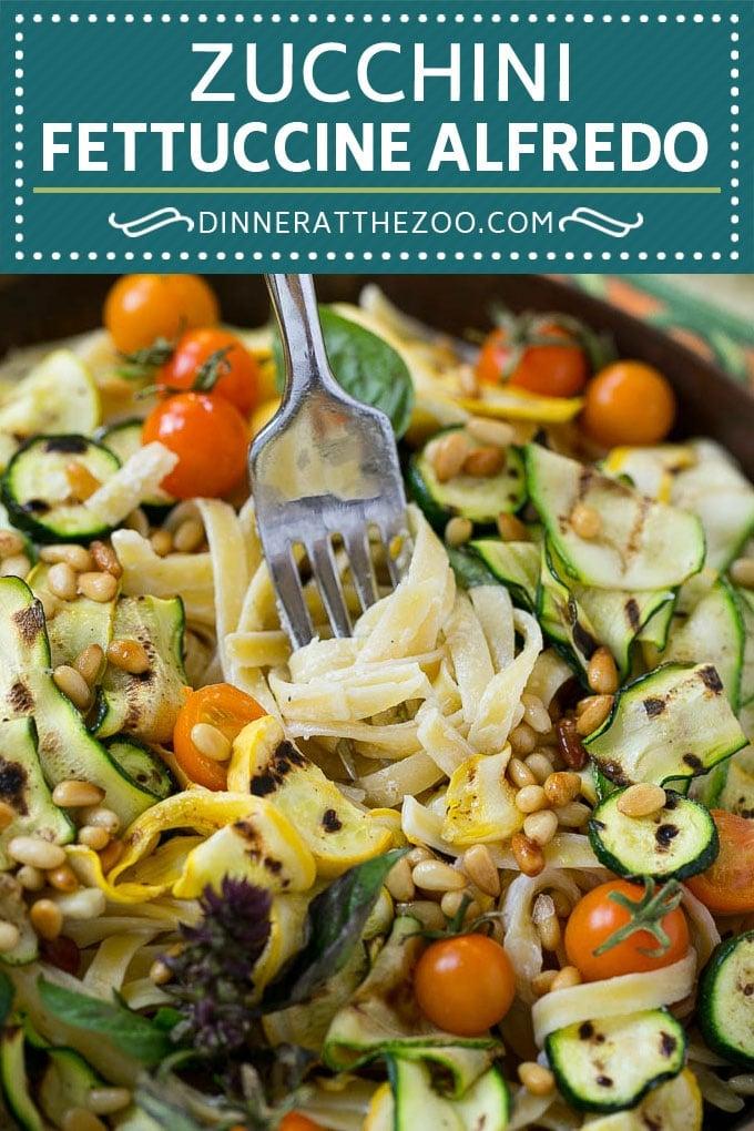 Zucchini Fettuccine Alfredo #pasta #zucchini #cheese #dinner #dinneratthezoo