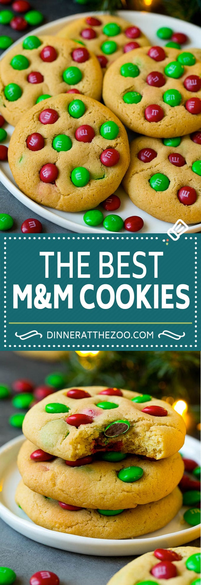 M&M Cookies Recipe #chocolate #cookies #baking #dessert #christmas #dinneratthezoo