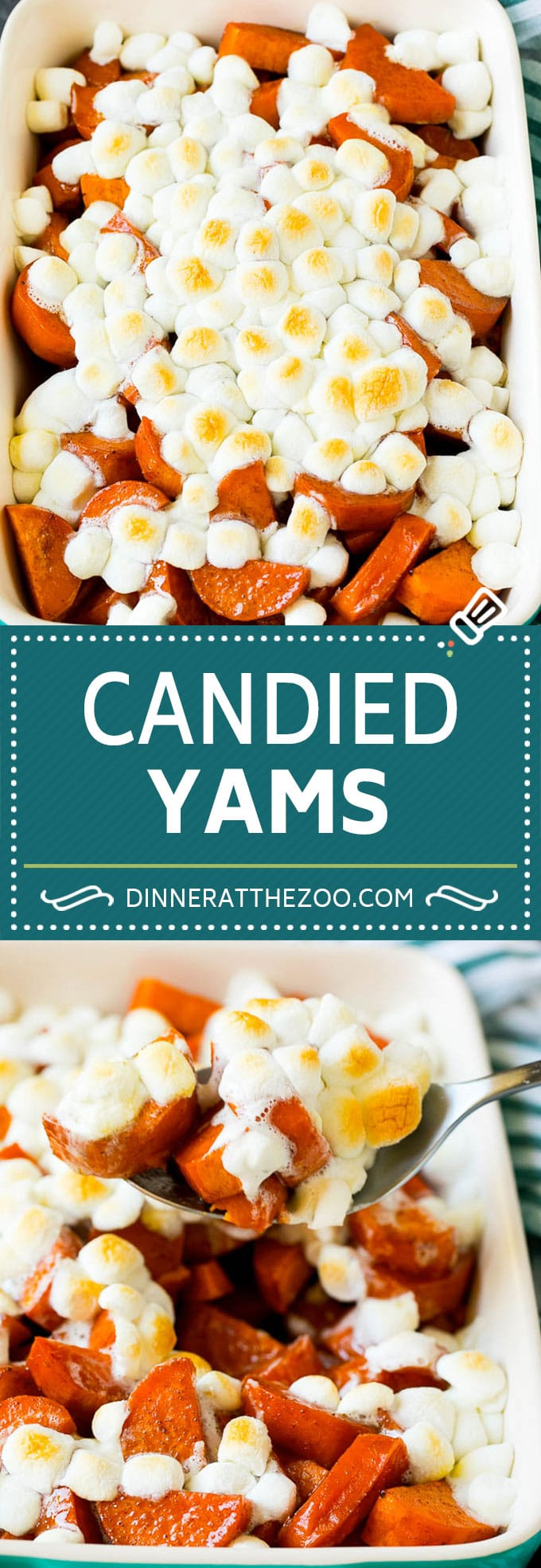 These candied yams are sweet potatoes tossed in brown sugar, butter and spices, then baked until caramelized.