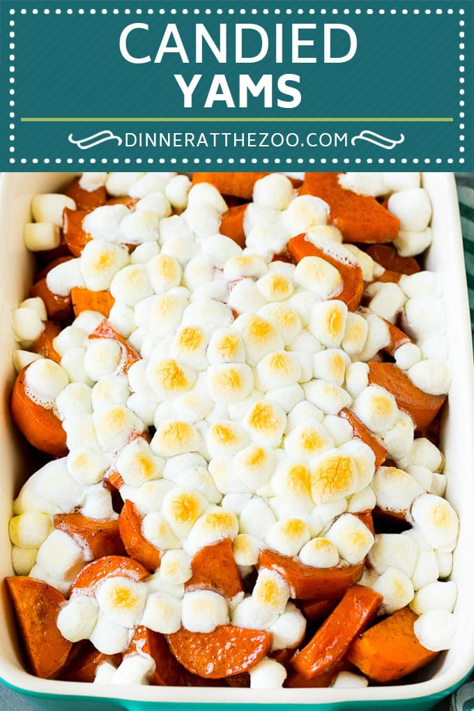 Candied Yams Recipe | Candied Sweet Potatoes #yams #sweetpotatoes #marshmallows #casserole #sidedish #fall #thanksgiving #dinneratthezoo