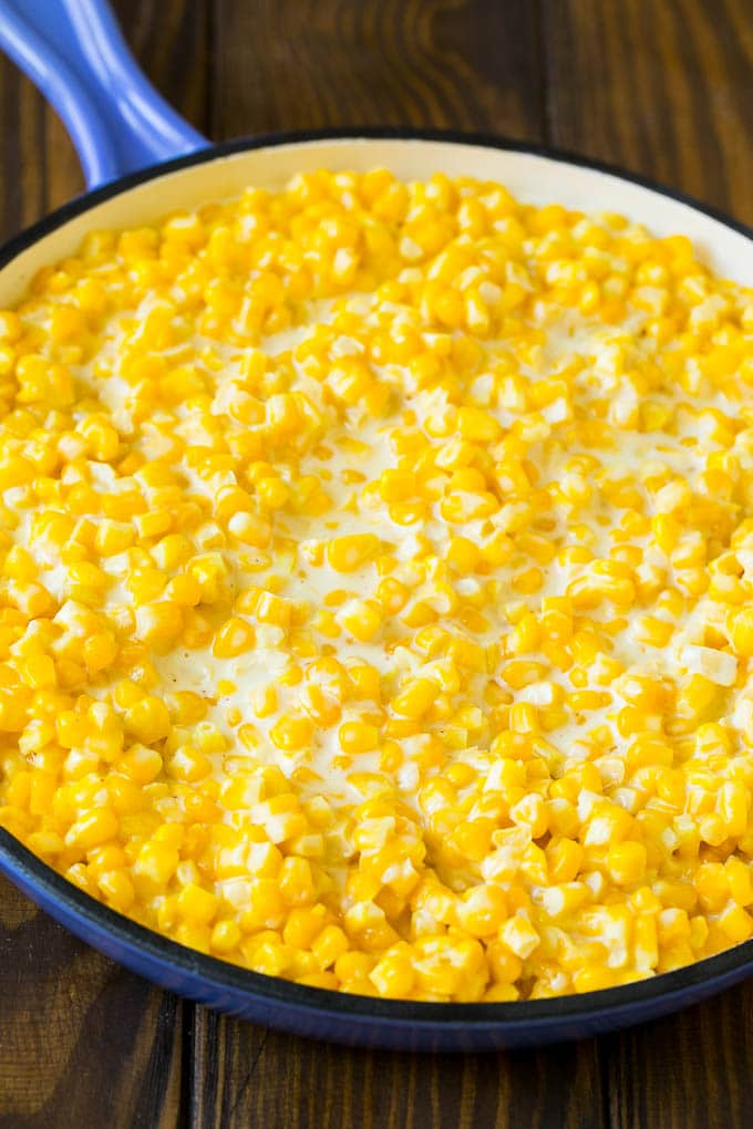 Corn kernels cooked in a creamy sauce.