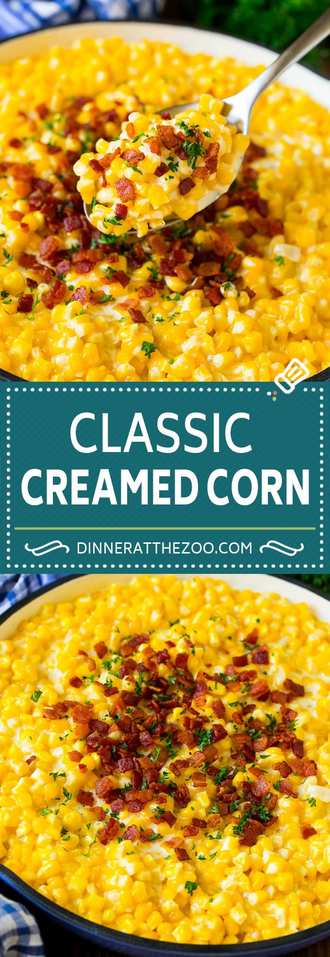 This creamed corn recipe consists of corn kernels simmered in cream sauce, then topped with crispy bacon and fresh herbs.